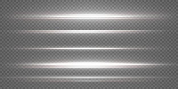 White horizontal lens flares pack. laser beam. beautiful light flares. white star.