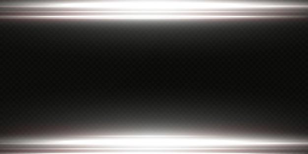 흰색 수평 렌즈 플레어 팩. 레이저 빔, 수평 광선. 아름다운 조명탄. 밝은 배경에 빛나는 줄무늬. 빛나는 추상 반짝 줄 지어 배경.