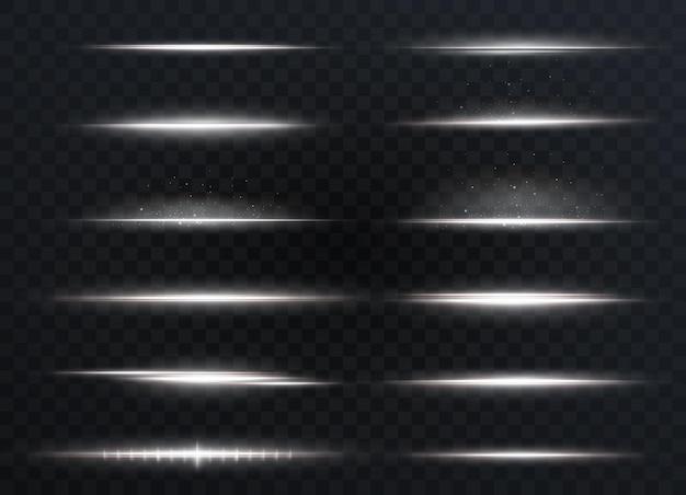 흰색 수평 렌즈 플레어 팩. 레이저 빔, 수평 광선. 아름다운 빛이 번쩍입니다. 밝은 배경에 빛나는 줄무늬