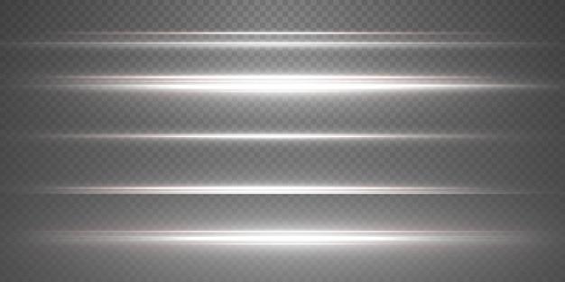 흰색 수평 렌즈 플레어 팩. 레이저 빔, 수평 광선. 아름다운 빛 플레어.