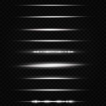 白い水平レンズフレアパックレーザービーム水平光線美しい光フレア