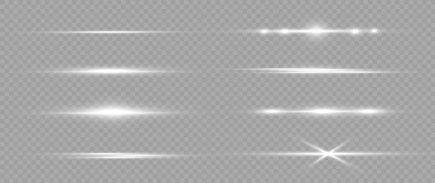 흰색 수평 렌즈 플레어 팩. 레이저 빔, 수평 광선. 가벼운 발적. 밝은 배경에 빛나는 줄무늬. 빛나는 추상 스파클링 줄 지어 배경.