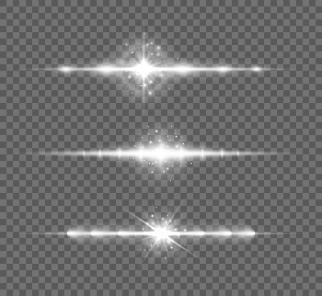White horizontal lens flares pack, laser beams, light flare. glowing streaks on transparent background.