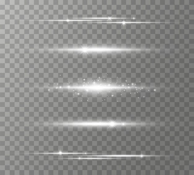 White horizontal lens flares pack, laser beams, light flare. light rays glow line bright glare on transparent background glowing streaks. luminous abstract sparkling lines.  illustration