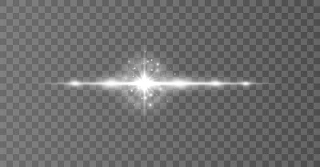 White horizontal lens flares pack laser beams light flare