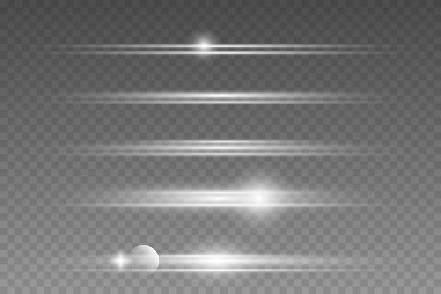白い水平レンズフレアが透明な背景に詰め込まれています。