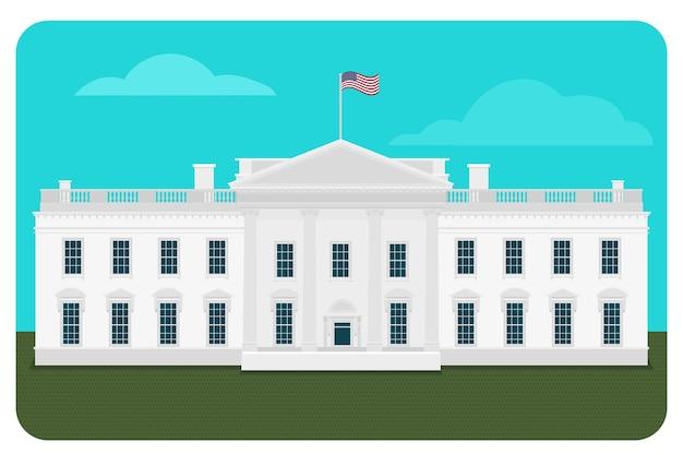 ホワイトハウスの建物のイラスト