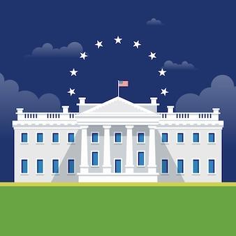 White house illustration in flat design