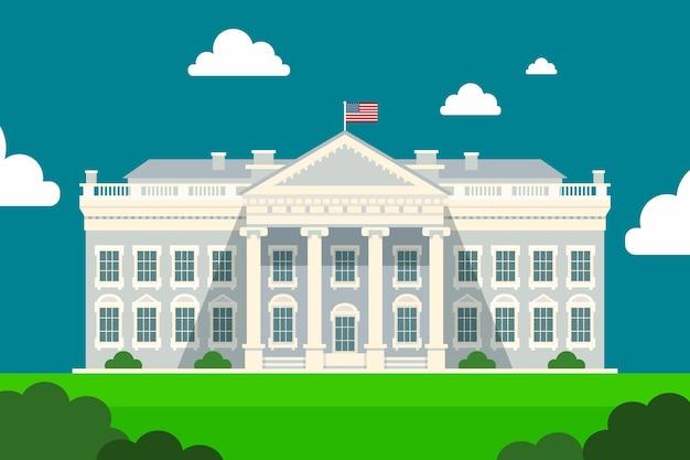 Illustrazione della casa bianca in design piatto