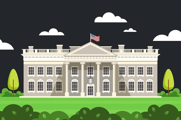 White house illustration in flat design