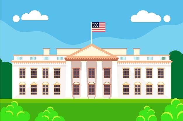 평면 디자인에 백악관 그림 프리미엄 벡터