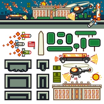 White house at night flat game level kit Premium Vector
