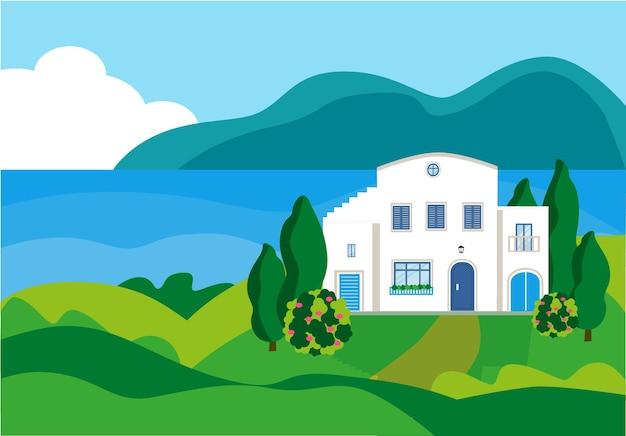 海岸の白い家夏の海の風景ビーチの近くの地中海の家