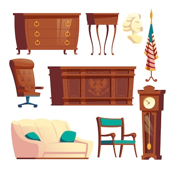 White house oval office wooden furniture cartoon vector set