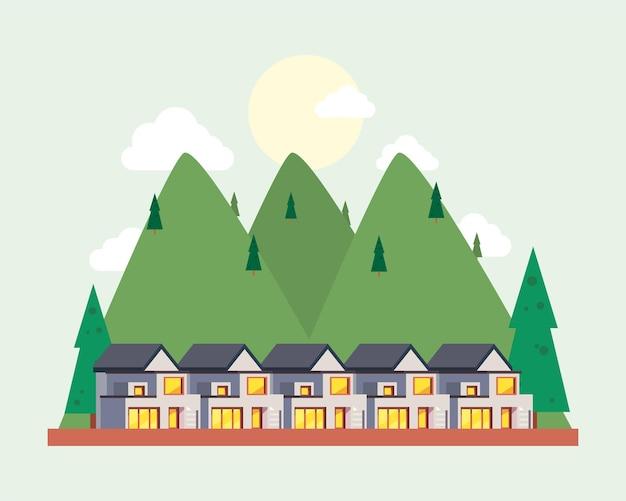 松の山と白い家