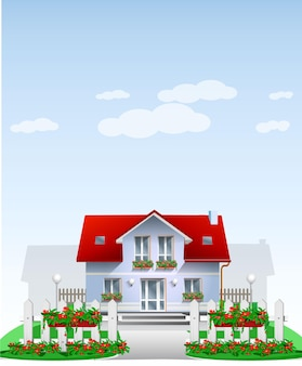 White house with red roof and white cartoon wooden fence with garden flowers in hanging pots