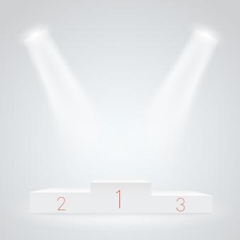 白く照らされたスポーツ表彰台。ベクトルモックアップ。授賞式のベクトルテンプレート