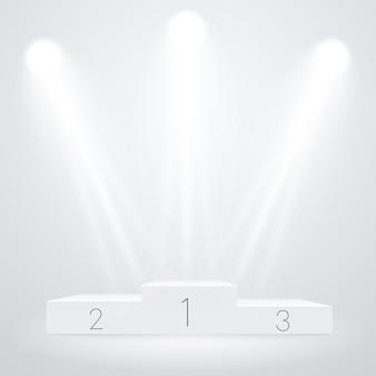 Спортивный подиум с белой подсветкой. векторный макет. векторный шаблон церемонии награждения