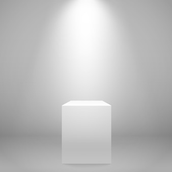 White illuminated stand on the wall.