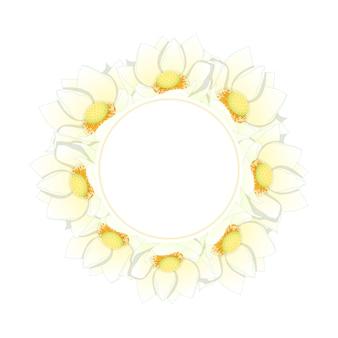 白いインドの蓮のバナーの花輪