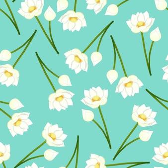 녹색 민트 배경에 흰색 인도 연꽃