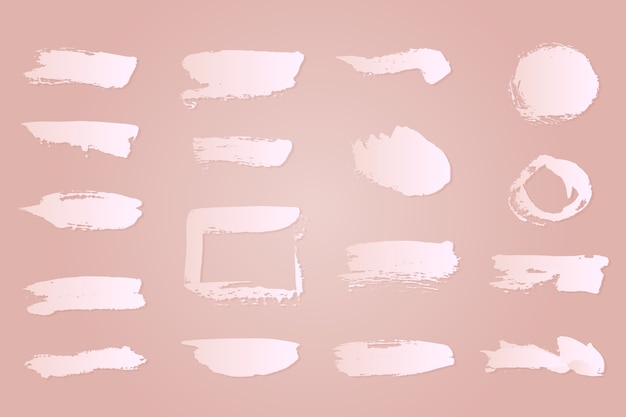 White ink brush strokes collection