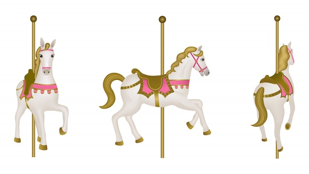 White isolated carousel horse. side, front and back view