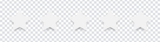 Белые изолированные пять звезд