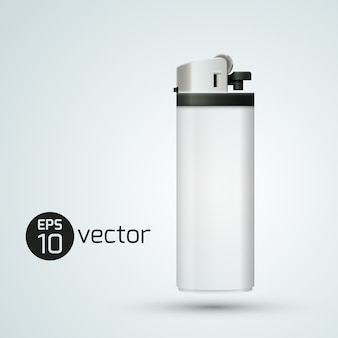 White isolated realistic gas lighter