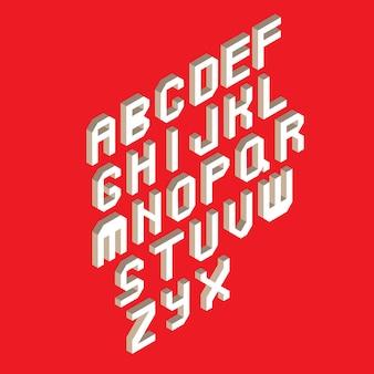 빨간색 배경에 흰색 아이소 메트릭 3d 글꼴 isoleted