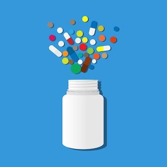 파란색 배경에 여러 가지 빛깔의 알약이 흩어져 있는 흰색 항아리. 의료 테마
