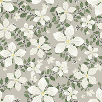 White jasmine flowers wreath ivy style with branch and leaves, seamless pattern