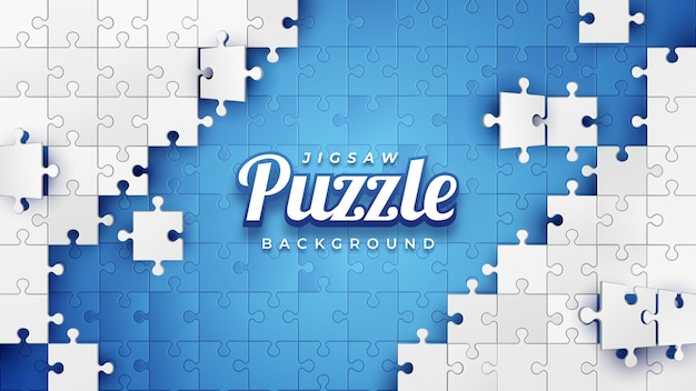 White jigsaw puzzle on the blue background