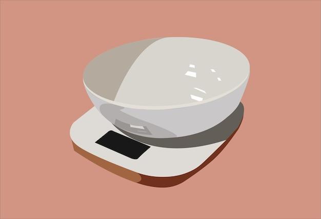 나무로 만든 그릇과 스탠드가 있는 흰색 주방 저울