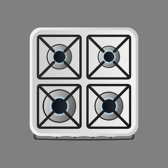 White kitchen stove with top view. included gas stove.
