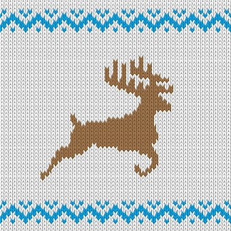 White knitted pattern with deer