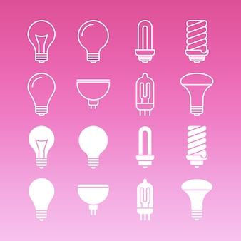 White lamp bulbs line and outline icons collection