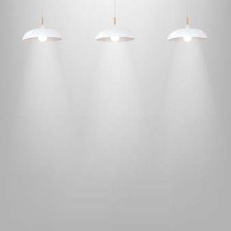 White lamp with grey wall with gradient mesh