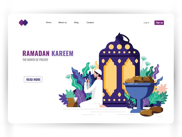 White landing page template of holy month of prayer, ramadan kareem.