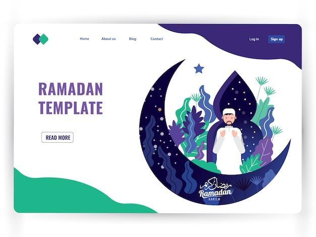 White landing page template of holy month of prayer, ramadan kareem.