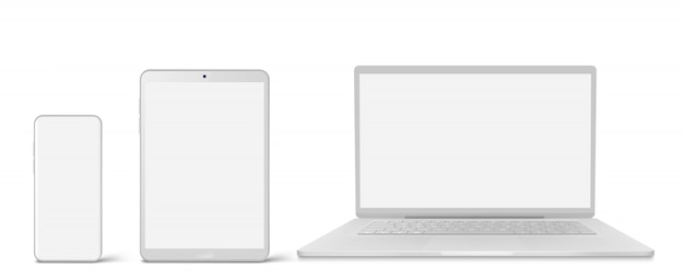 White laptop, tablet and phone with blank screen