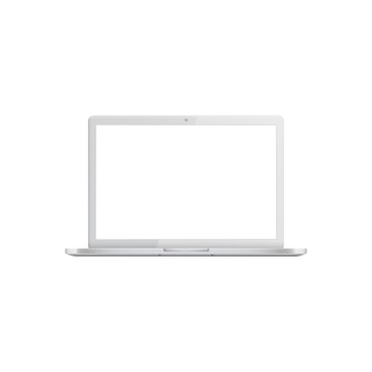 White laptop with blank screen