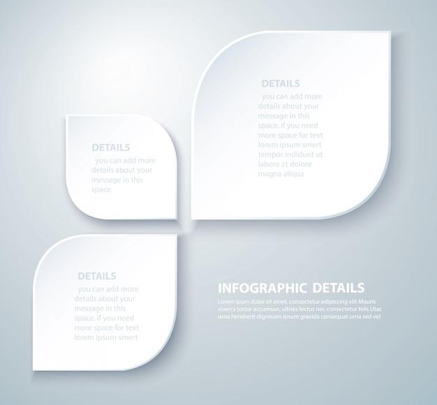 白い葉情報グラフィックテンプレート