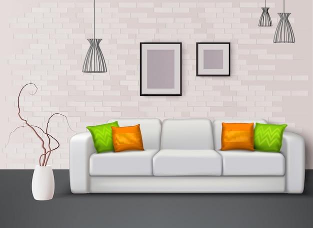 幻想的な緑オレンジの枕と白い革張りのソファは、リビングルームのリアルなインテリアイラストの色をもたらします