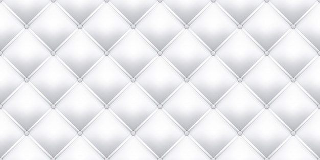 White leather upholstery texture pattern background.   seamless vintage royal sofa leather upholstery with buttons pattern