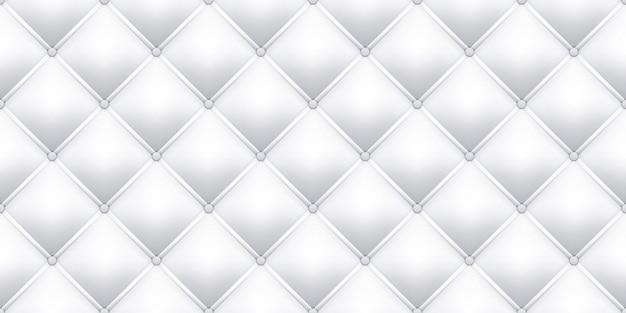 Белая кожа обивка текстуры шаблон фона. бесшовная старинная королевская кожаная обивка дивана с образцом кнопок