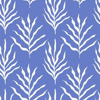 흰색은 파란색 벡터 일러스트 레이 션에 고립 된 완벽 한 패턴을 나뭇잎. 식물 배경입니다.