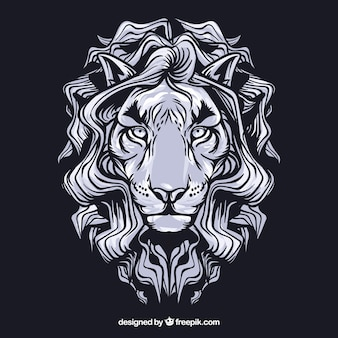 White leon face vector clip art