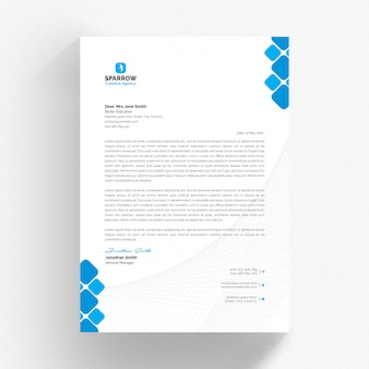 White letterhead and cv template with blue details