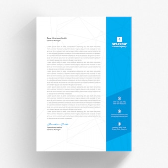 White letterhead and cv template with blue and grey details